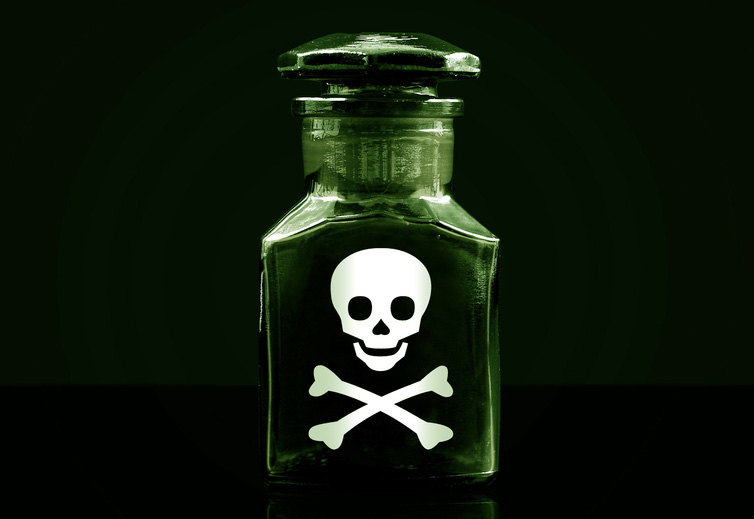 Poison bottle with skull and crossbones