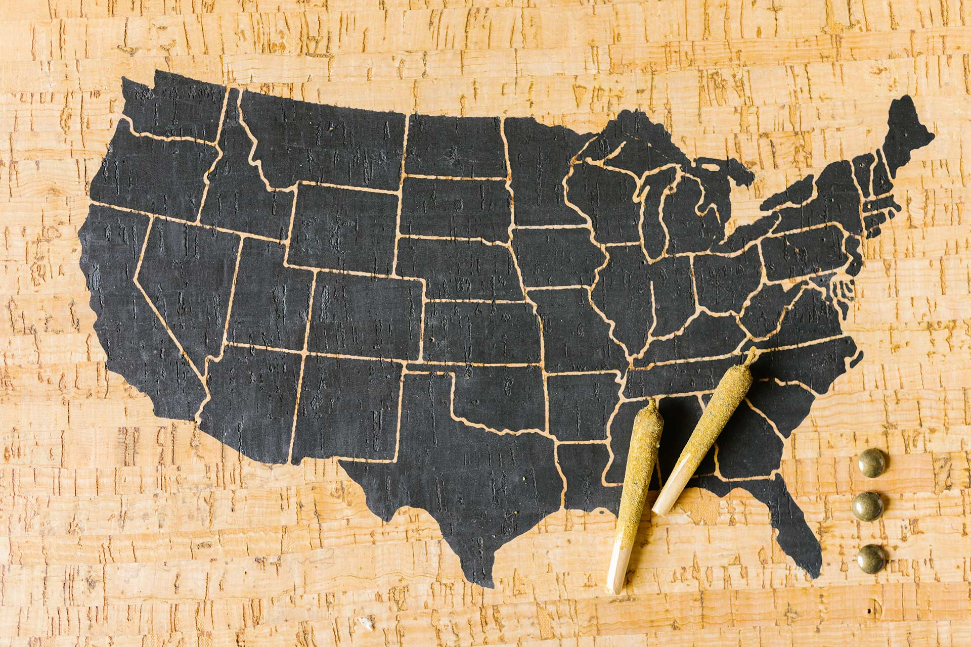 map of USA with two joints on top